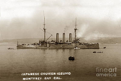 Photograph - Japanese Cruiser Izumo In Monterey Bay December 1913 by California Views Mr Pat Hathaway Archives