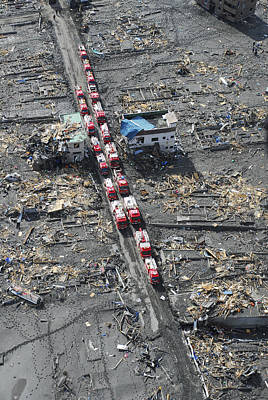 Japan Relief Photograph - Japanese Fire Trucks Line A Road by Stocktrek Images
