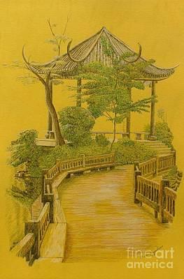 bridge drawing japanese garden by dan hausel