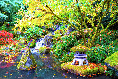 Digital Art - Japanese Garden by Dennis Cox Photo Explorer