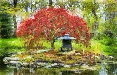 Photograph - Japanese Garden - Monet Style Painting by Betty Denise