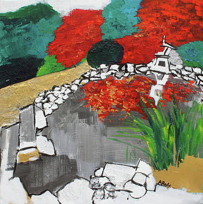 Painting - Japanese Garden Norfolk Botanical Garden 201820 by Alyse Radenovic