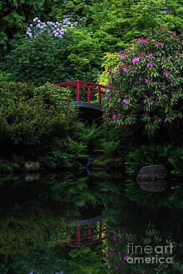 Photograph - Japanese Garden Red Bridge Serenity by Mike Reid