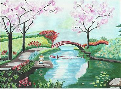 japanese landscape painting japanese garden by reeny wells