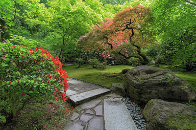 Photograph - Japanese Garden Strolling Stone Path by David Gn