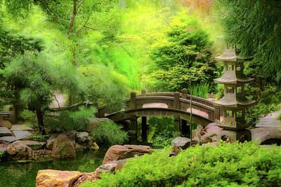 Photograph - Japanese Garden - Water Under The Bridge by Mike Savad