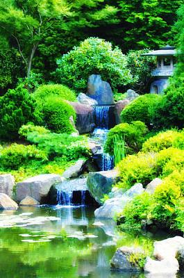 Koi Digital Art - Japanese Garden Waterfall by Bill Cannon