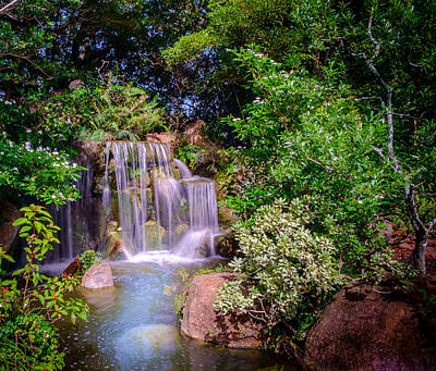 Photograph - Japanese Garden Waterfalls by Louis Ferreira
