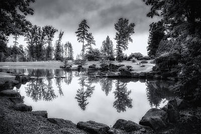 Trees And Lake Photograph - Japanese Gardens - Dawes Arboretum by Tom Mc Nemar