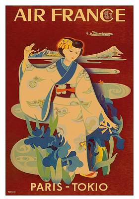 Japanese Geisha Air France Vintage Airline Travel Poster By Yasse Tabuchi Art Print by Retro Graphics