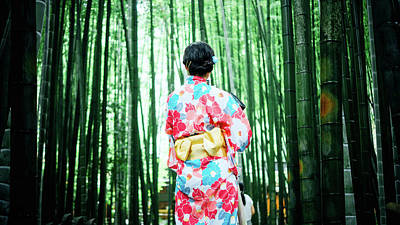 Photograph - Japanese Geisha Between Bamboo Trees by Unsplash