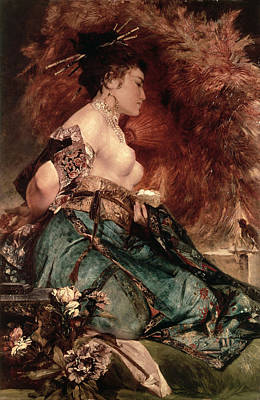 Japanese Silk Painting - Japanese Girl by Hans Makart