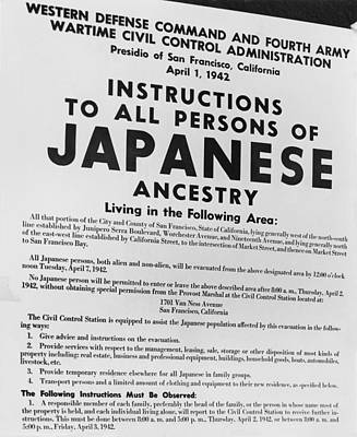 Ww 2 Photograph - Japanese Internment. Exclusion Order by Everett