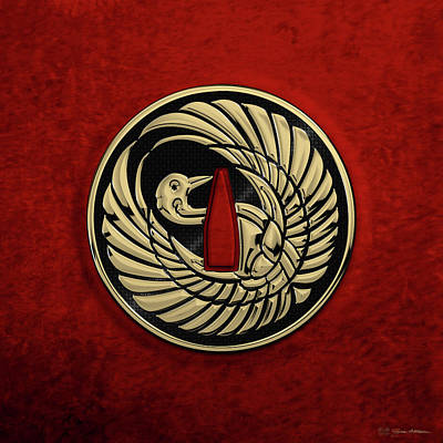 Digital Art - Japanese Katana Tsuba - Golden Crane On Black Steel Over Red Velvet by Serge Averbukh