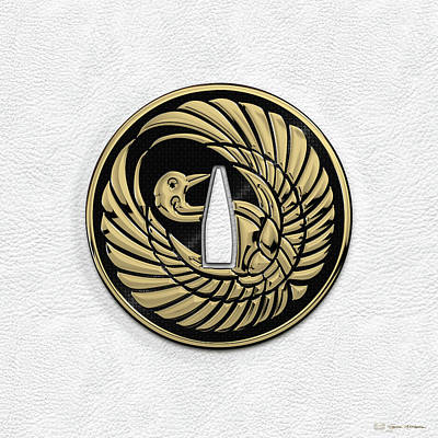 Digital Art - Japanese Katana Tsuba - Golden Crane On Black Steel Over White Leather by Serge Averbukh