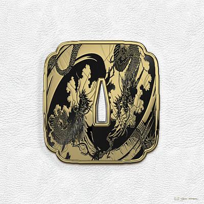 Kendo Wall Art - Digital Art - Japanese Katana Tsuba - Golden Twin Dragons On Black Steel Over White Leather by Serge Averbukh