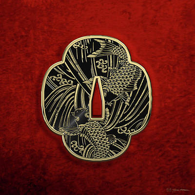 Digital Art - Japanese Katana Tsuba - Golden Twin Koi On Black Steel Over Red Velvet by Serge Averbukh