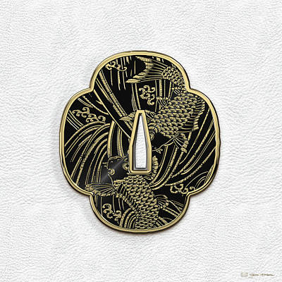 Digital Art - Japanese Katana Tsuba - Golden Twin Koi On Black Steel Over White Leather by Serge Averbukh