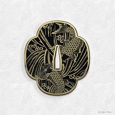 Kendo Wall Art - Digital Art - Japanese Katana Tsuba - Golden Twin Koi On Black Steel Over White Leather by Serge Averbukh