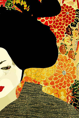 Photograph - Geisha Or Woman In A Japanese Kimono With Chrysanthemums  by Suzanne Powers