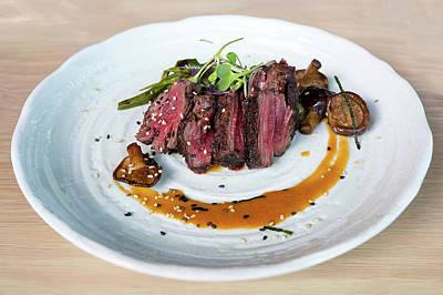 Photograph - Japanese Kobe Beef Steak With Ponzu Sauce by Jit Lim