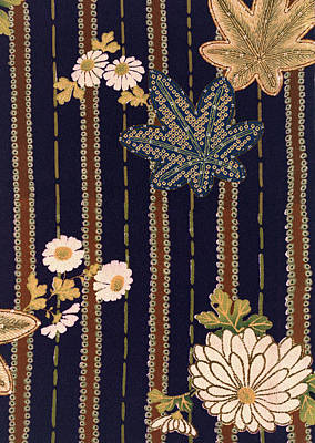 Chrysanthemum Wall Art - Tapestry - Textile - Japanese Maple And Chrysanthemum Modern Interior Art Painting. by ArtMarketJapan