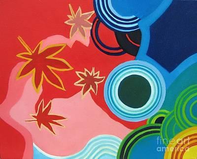 Japanese Maple On Water Art Print by Takayuki  Shimada