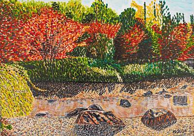 Japanese Maple Trees At The Creek Art Print by Valerie Ornstein