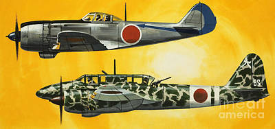 Jet Drawing - Japanese Nakajima Hayabusa And Kawasaki Hien Fighters by Wilf Hardy