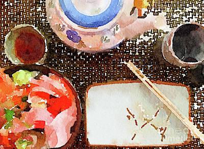 Oriental Teapot Painting - Japanese Place Setting by Anita Van Den Broek