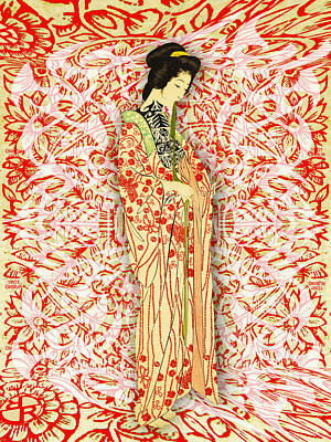 Mixed Media - Japanese Woman Rise Dressing by Tony Rubino