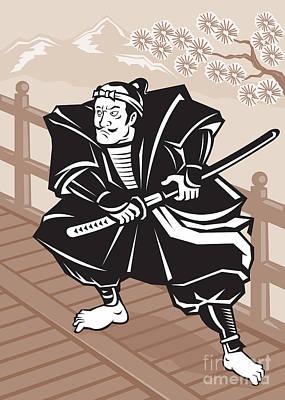 Japanese Samurai Warrior Sword On Bridge Art Print by Aloysius Patrimonio