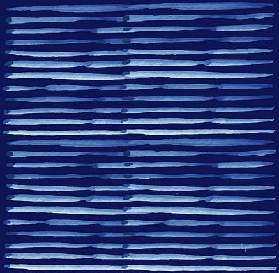 Digital Art - Japanese Shibori - Indigo 4 by Kimberly Potts