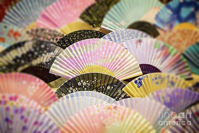 Floral Fabric Photograph - Japanese Souvenir Fans by Jane Rix