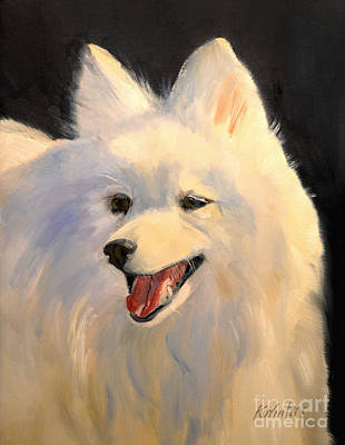 Dogs Painting - Japanese Spitz Dog  White Dog by Karen Winters