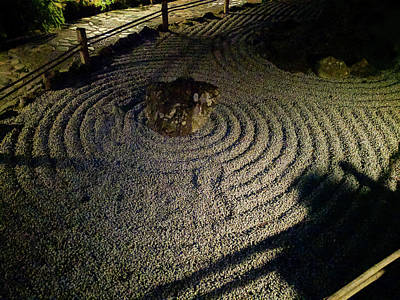 Photograph - Japanese Stone Garden At Night by Michael Bessler
