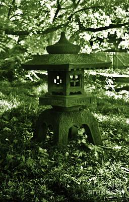Photograph - Japanese Stone Lantern In Green by Craig Wood