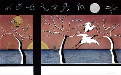 Stork Mixed Media - Japanese Storks by Sally Appleby