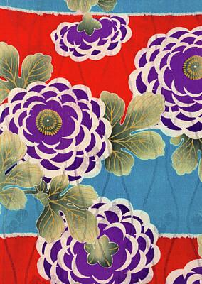 Chrysanthemum Wall Art - Tapestry - Textile - Japanese Style Flower Art Painting by ArtMarketJapan