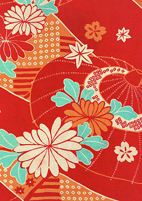 Chrysanthemum Wall Art - Tapestry - Textile - Japanese Style Umbrella Art Painting by ArtMarketJapan