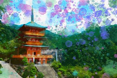Red Painting - Japanese Style  Watercolor View From A Temple by Celestial Images