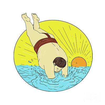 Wrestler Digital Art - Japanese Sumo Wrestler Diving Sea Sunset Circle Drawing by Aloysius Patrimonio