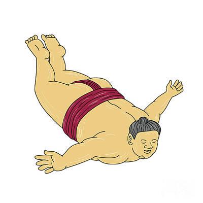 Wrestler Digital Art - Japanese Sumo Wrestler Skydiving Drawing by Aloysius Patrimonio