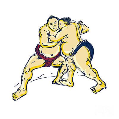 Wrestler Digital Art - Japanese Sumo Wrestler Wrestling Drawing by Aloysius Patrimonio