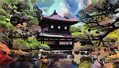 Painting - Japanese Temple On The Lake by Sergey Lukashin