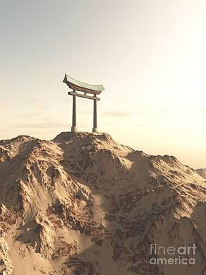 Digital Art - Japanese Torii Gate On A Lonely Mountain by Fairy Fantasies