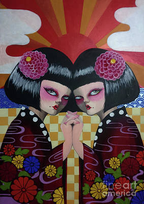 Painting - Japanese Twins by Akiko Okabe