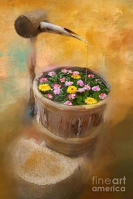 Painting - Japanese Water Fountain by Eva Lechner