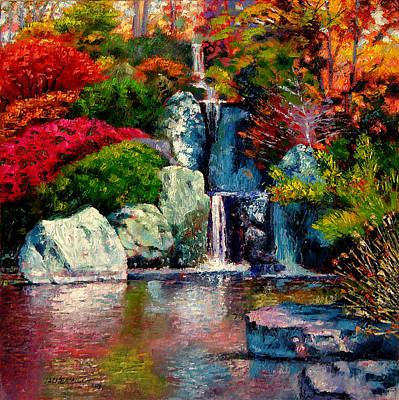 Japanese Waterfall Art Print by John Lautermilch