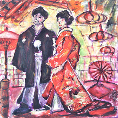Painting - Japanese Wedding Couple by Yen